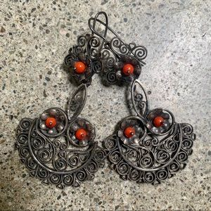 Large Intricate Vintage Earrings Statement Silver